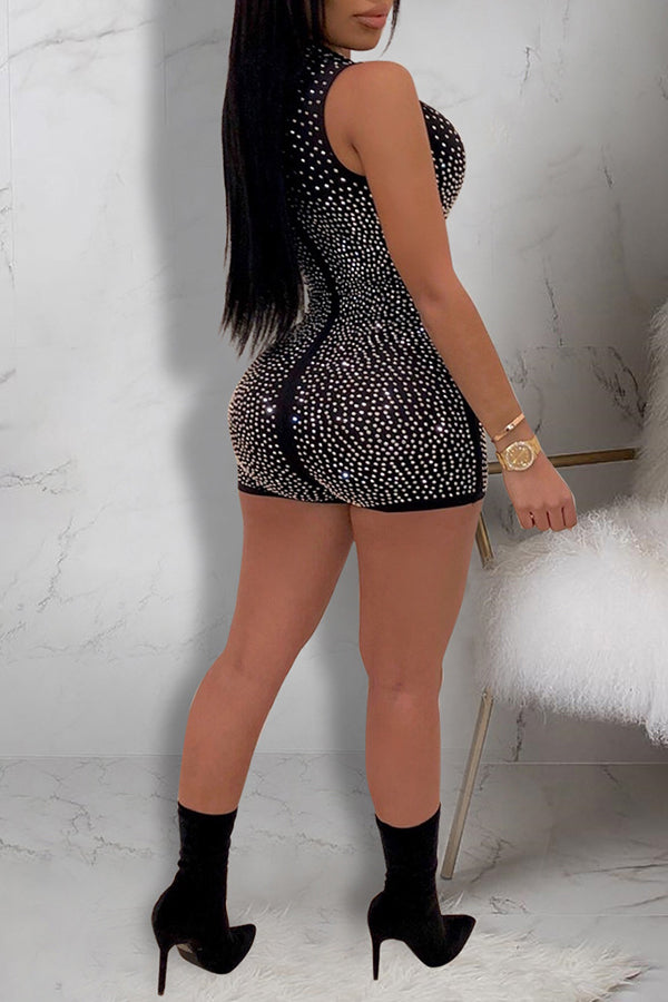 Rhinestone Zipper Sleeveless Romper