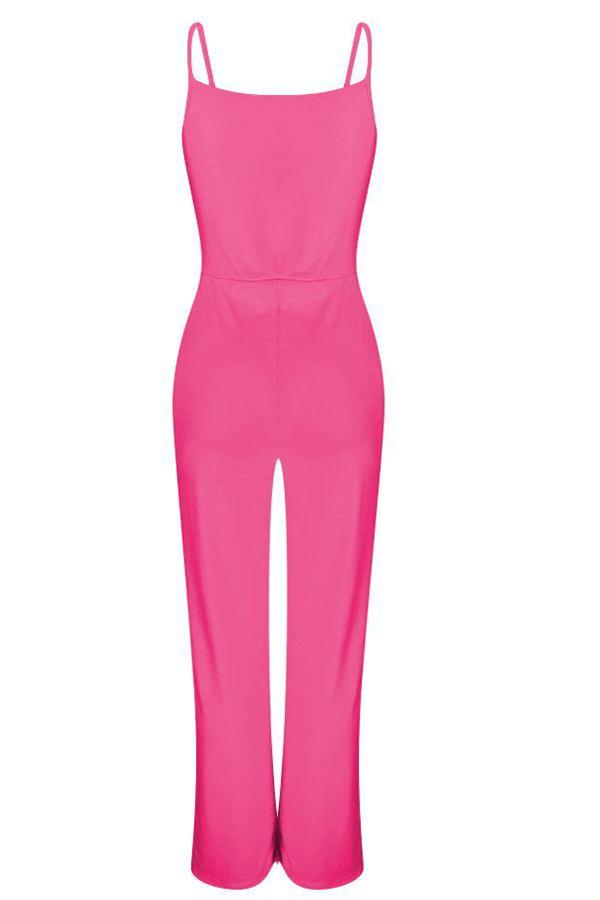 Solid V Neck Slip Jumpsuit
