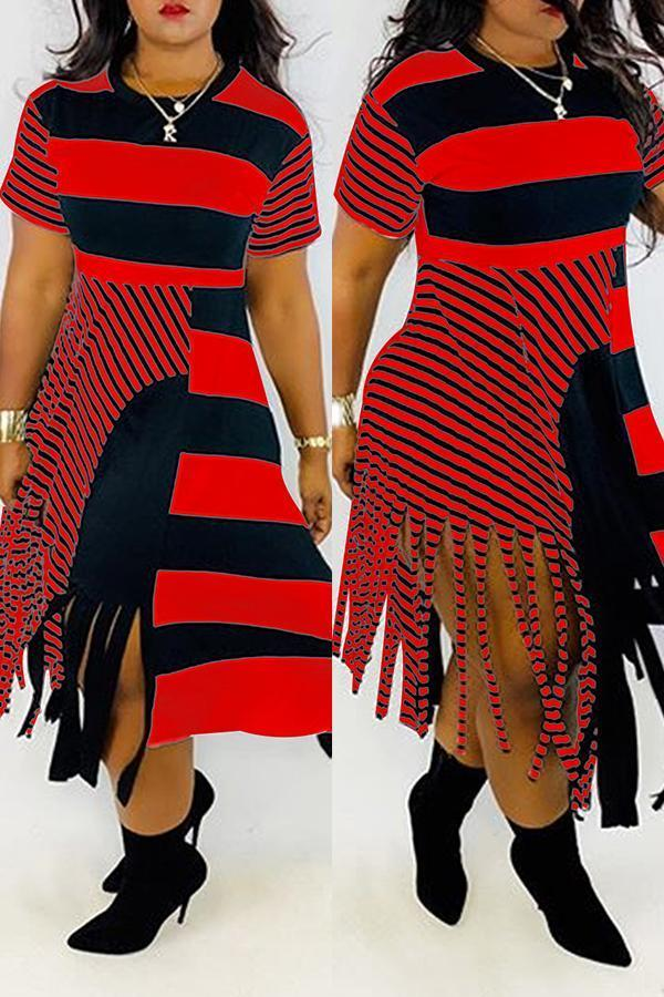 Stripe Tassels Asymmetrical Dress