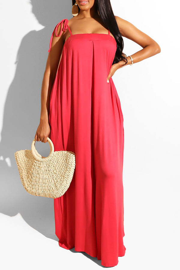 Lace Up Strapless Loose Jumpsuit