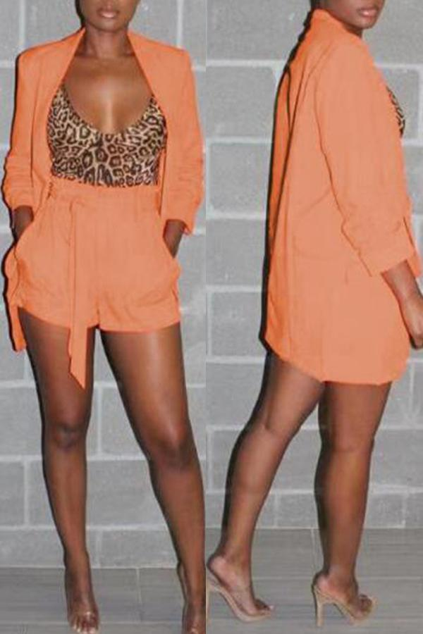 Long Sleeve Blazer Shorts Set