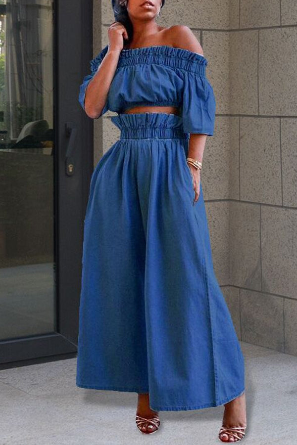 Off Shoulder Draped Wide Leg Pants Set