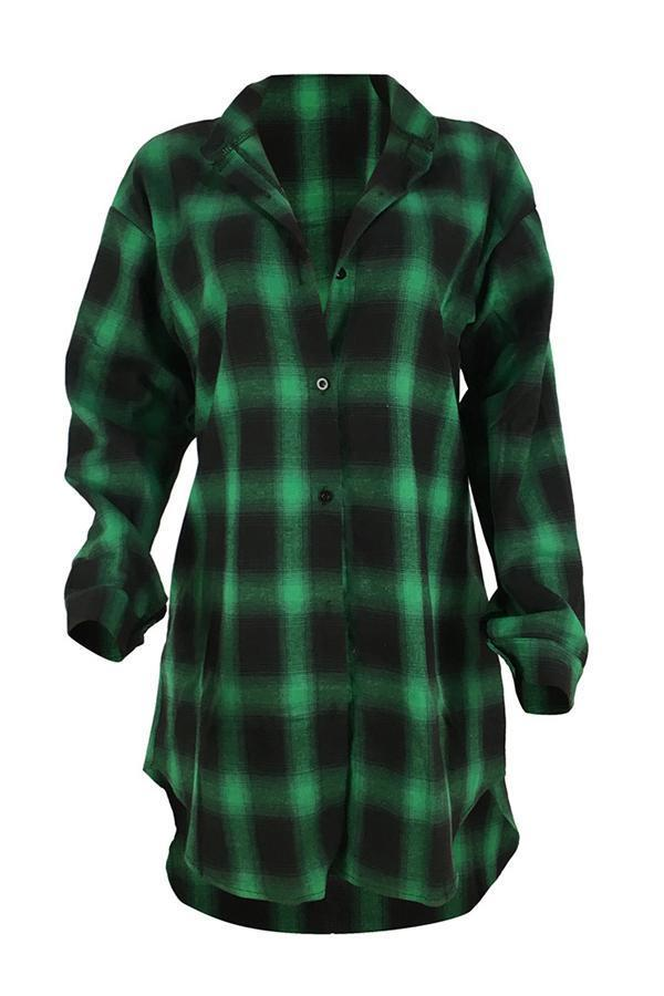 Letter Plaid Side Slit Long Shirt