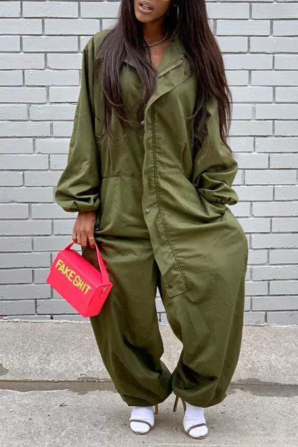 Button Loose Long Sleeve Jumpsuit