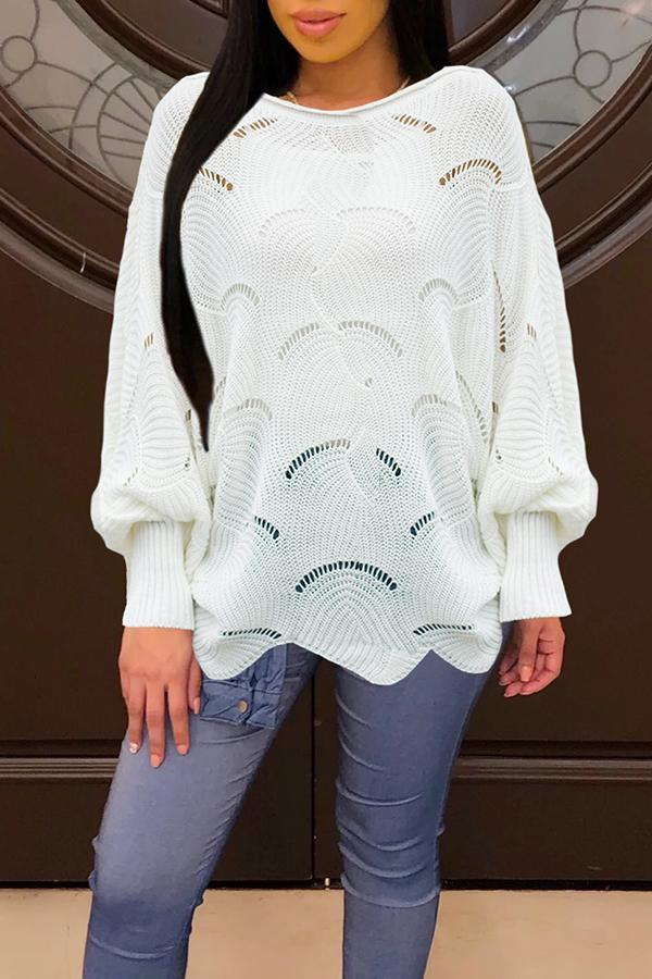Hollow Ruffles Hem Bat Sweater