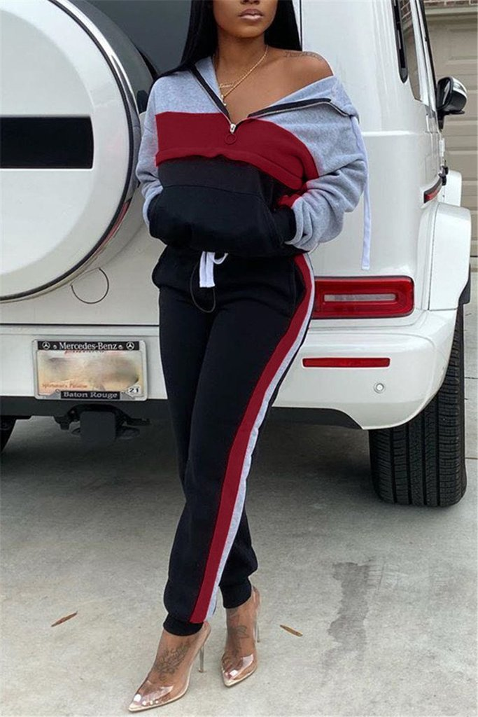Quarter Zip Color Patchwork Pocket Pants Set