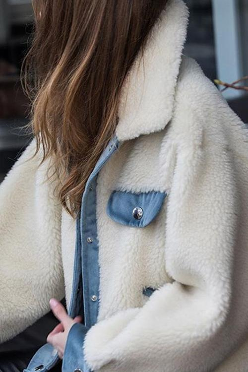 Patchwork Button Fuzzy Coat