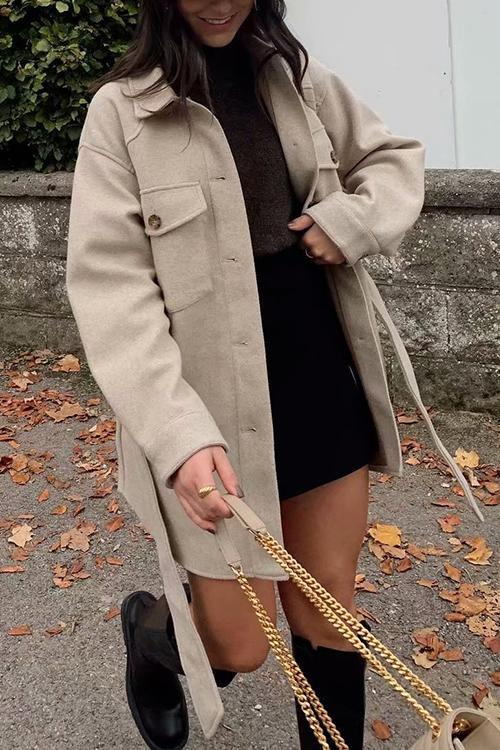 Button Pockets Belted Coat