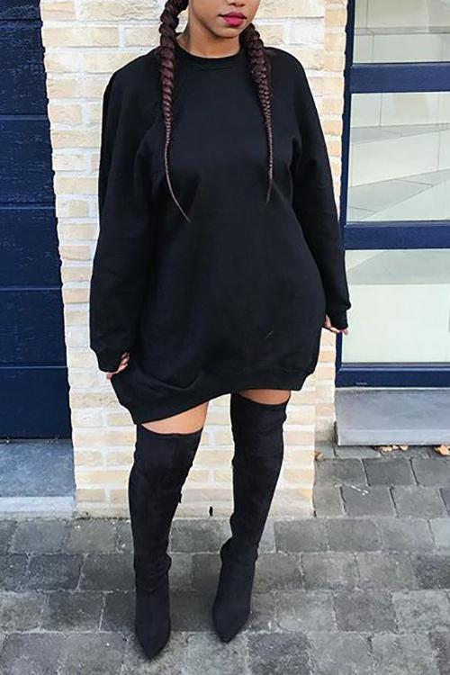 Long Sleeves Loose Dress