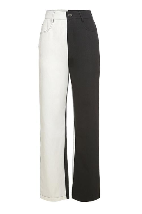 Black White Colour Block Straight Jeans