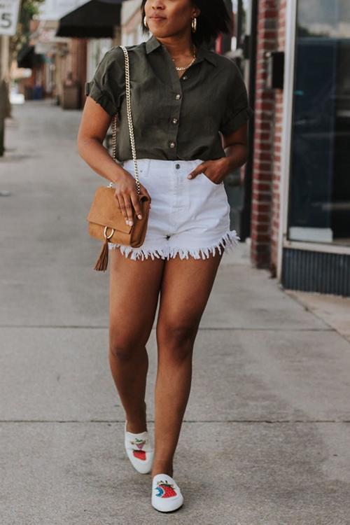 White Broken Edges Denim Shorts