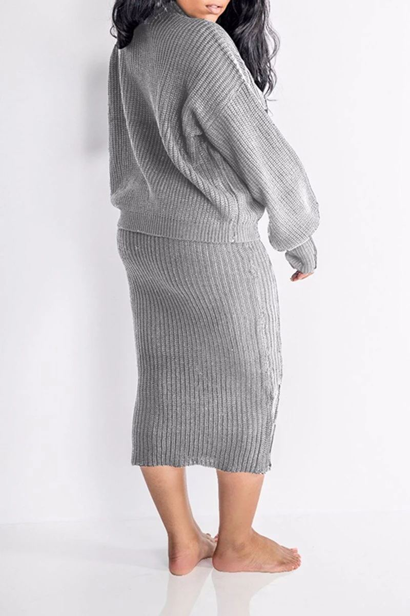 Solid Bat Sweater Skirts Set