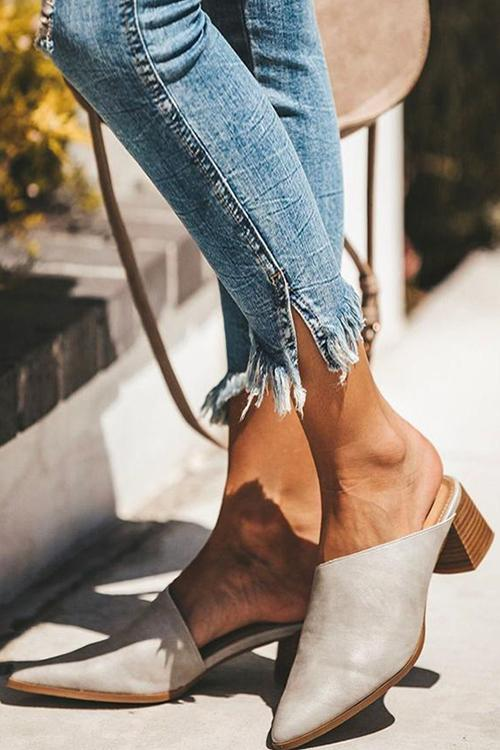 Low Heel PU Mules