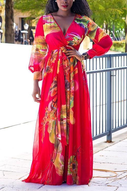 Print V Neck Long Sleeve Maxi Dress