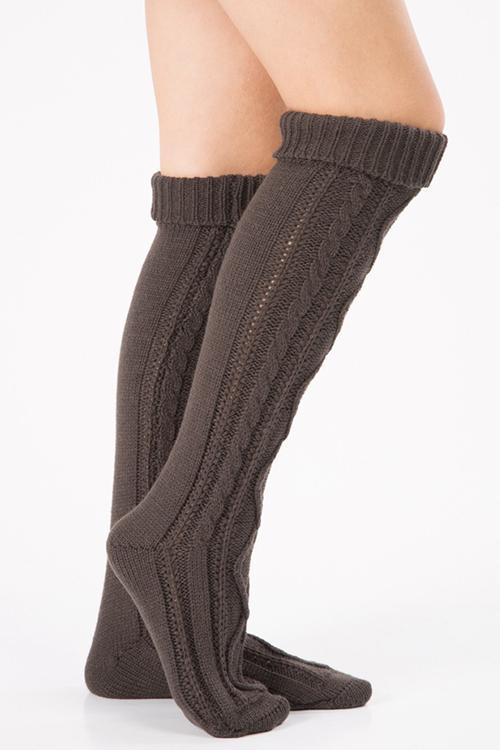 Thick Cable Knit Over Knee Socks