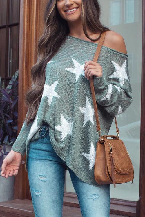 Star Print One Shoulder T shirt