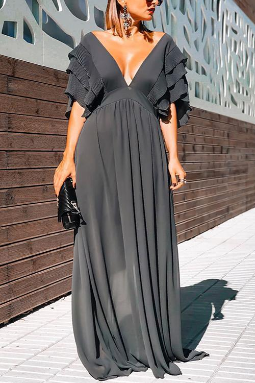 Ruffles Deep V Neck Maxi Dress