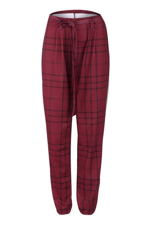 Plaid Belted Pants