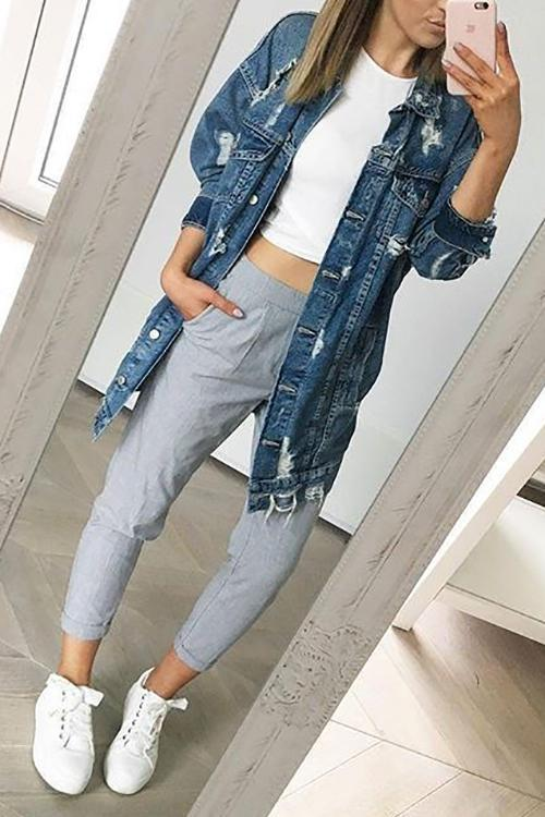 Oversized Ripped Denim Jackets