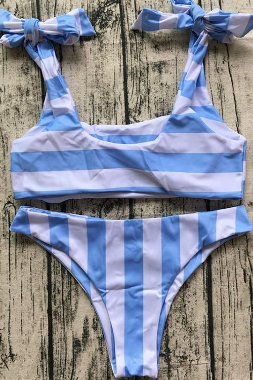 Stripe Lace Up Bikini Set