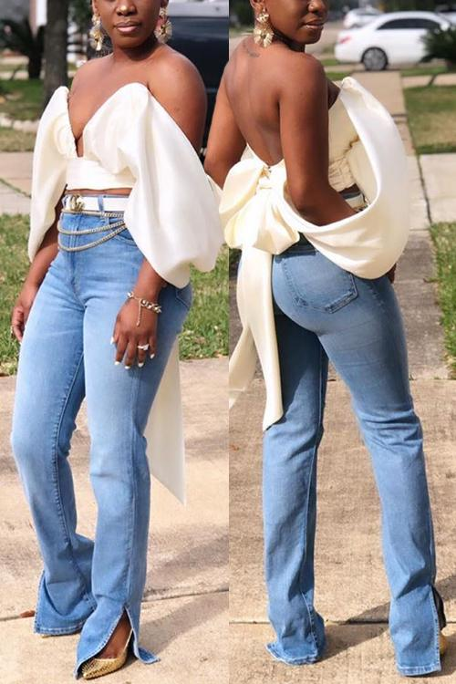 High Waist Ripped Slit Jeans