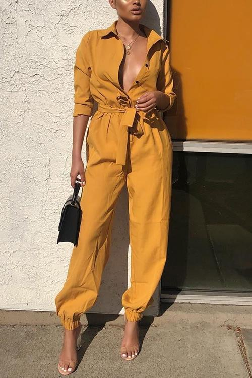 Button Long Sleeve Belted Jumpsuit