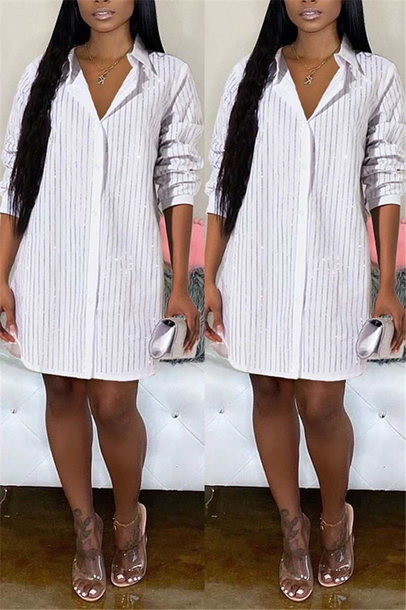 Rhinestone Long Sleeve Shirt Dress