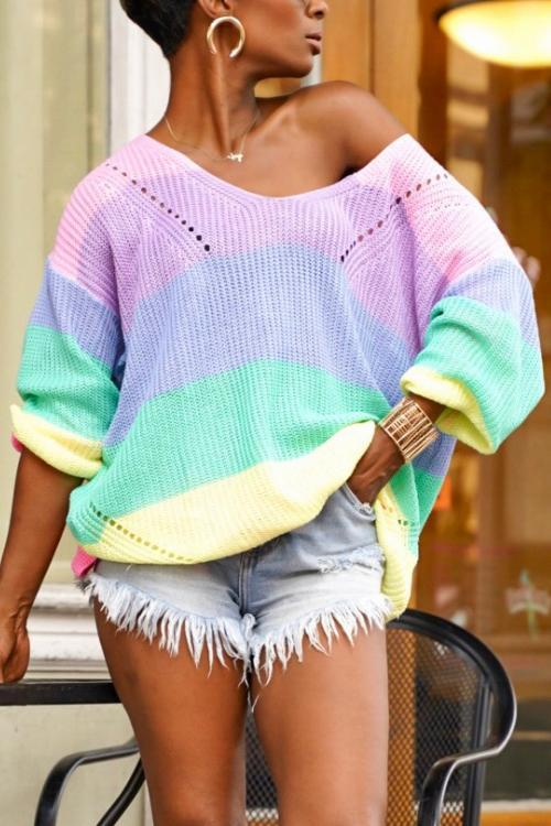 Color Block V Neck Loose Sweater
