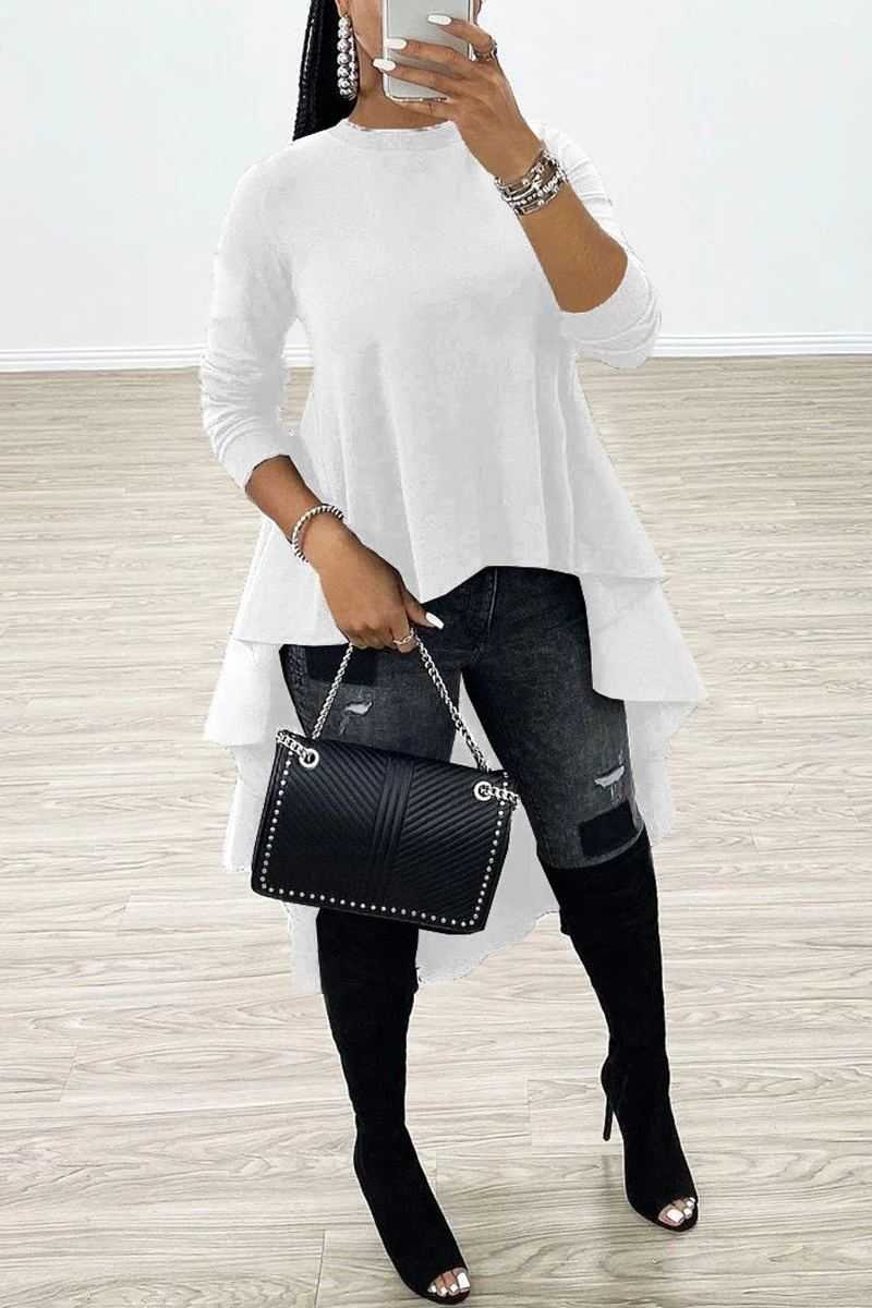 Solid Long Sleeve Asymmetric Hem Top