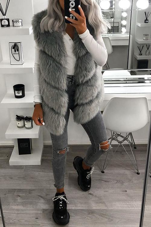 V Neck Faux Fur Vest