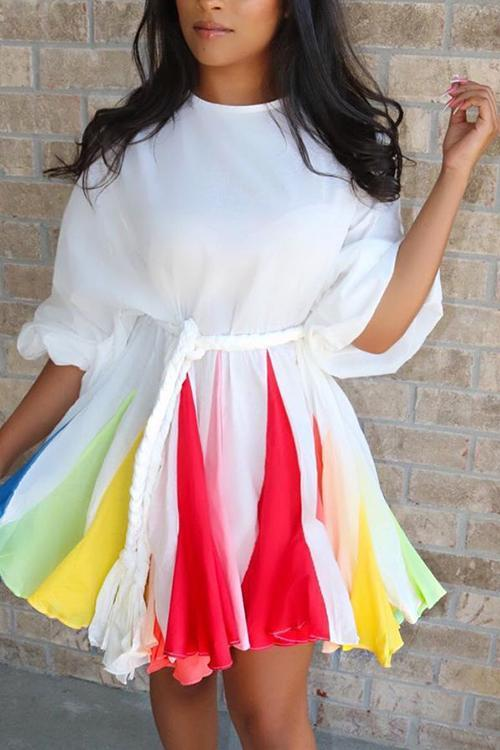 Colorful Hem A Line Mini Dress Without Blet