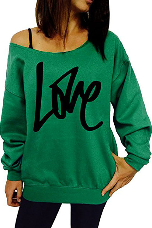 Letters Printing  Boat Neck Sweatshirt