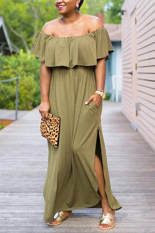 Off Shoulder Side Slit Maxi Dress