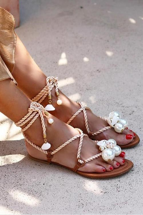 Pearl Lace Up Flat Sandals