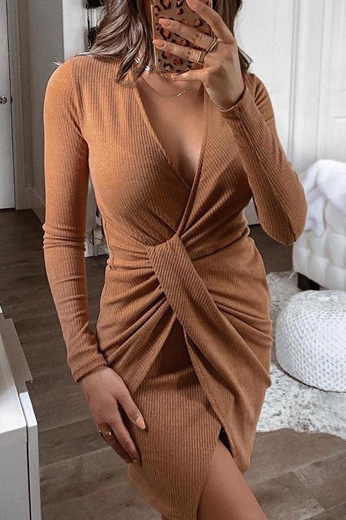 Knit V Neck Slit Bodycon Mini Dress