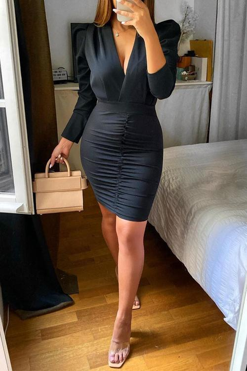 Deep V Neck Mini Dress
