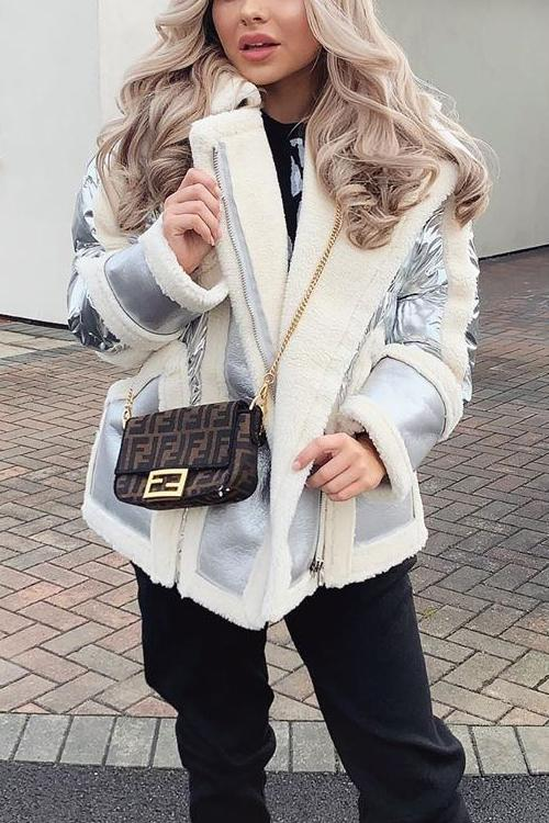 Fuzzy Leather Patchwork Motor Coat