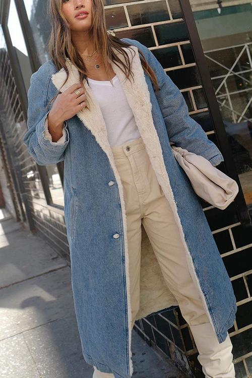 Sherpa Fleece Denim Trench Coat
