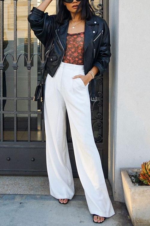 Pockets Wide Leg Pants