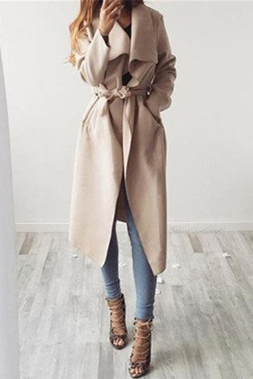 Lapel Woolen Coat With Belt