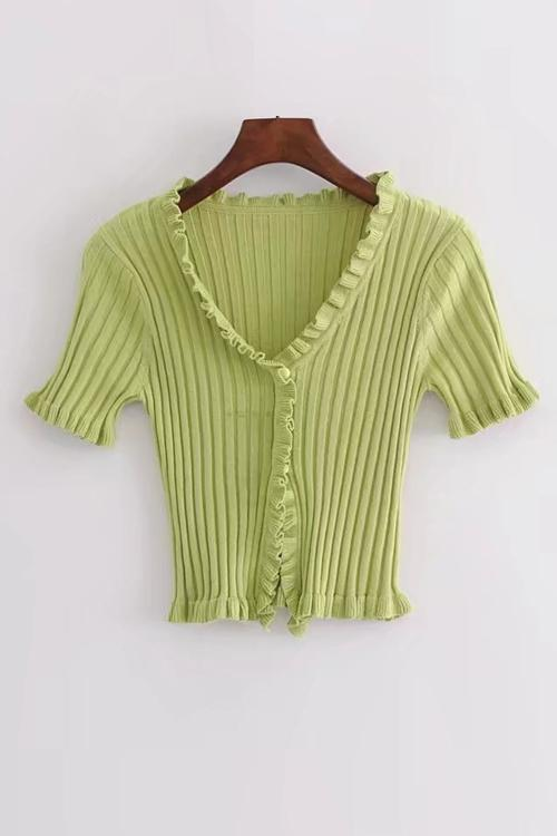 Ruffles Beads Short Sleeve T Shirt