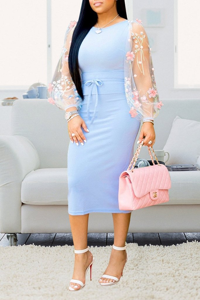 Embroidered Puff Sleeve Midi Dress