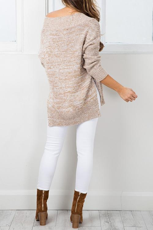 V Neck Side Slit Loose Sweater