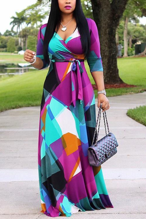 Print Tied Waist Warp Maxi Dress