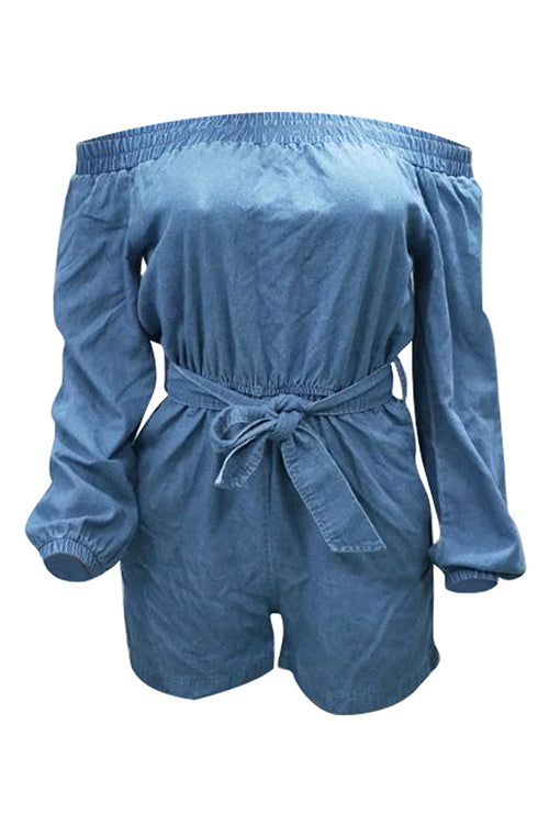 Off Shoulder Knot Denim Romper