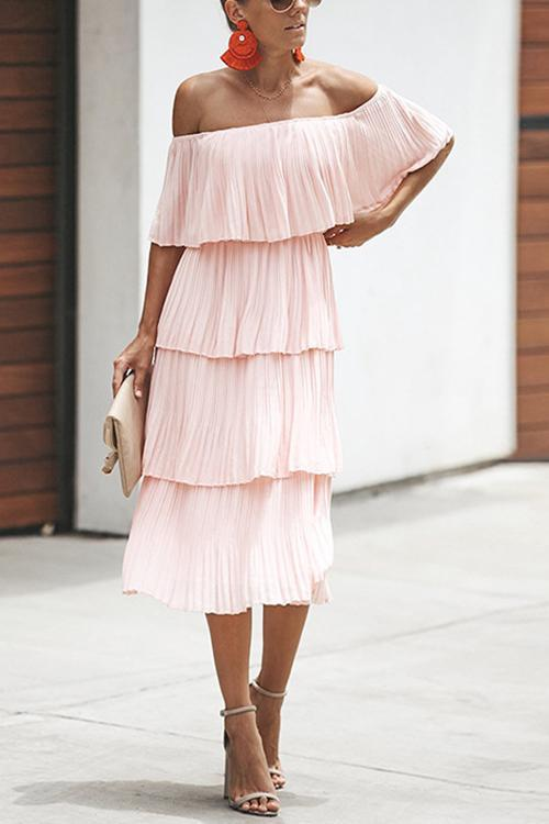 Off Shoulder Pleated Dress