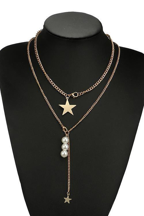 Star Pearl Layer Necklace