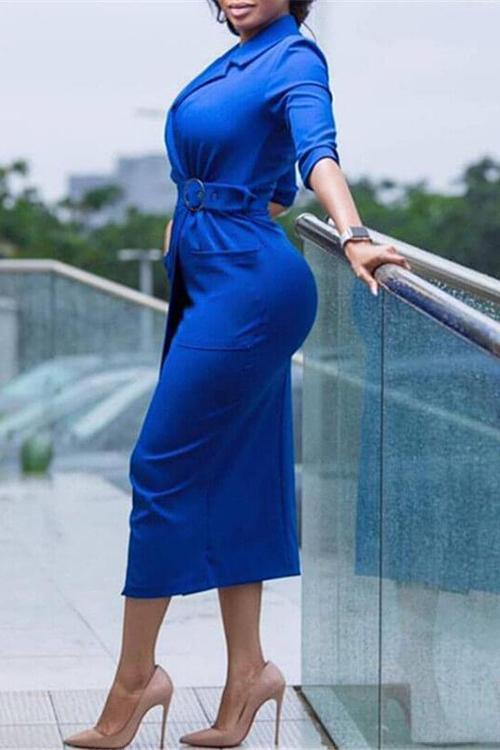 Notched-Lapel Midi Dress with Belt