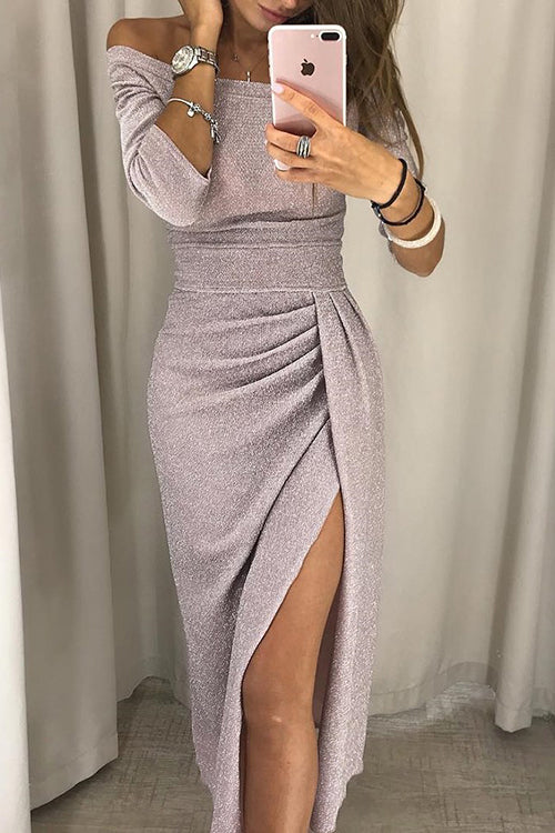 Shiny Off Shoulder Ruched Thigh Slit Dress