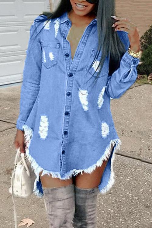 Ripped Button Denim Mini Dress